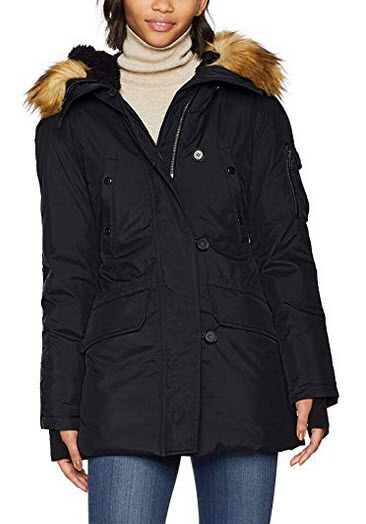 S13 Women's Eskimo Thigh Length Down Parka with Faux Fur Hood black