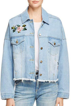 Sadie & Sage Womens Fall Floral Embroidered Denim Jacket, blue