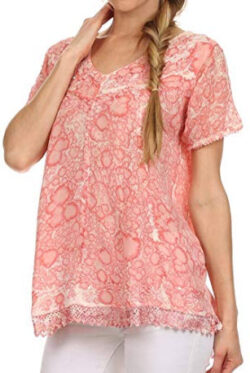 Sakkas Charolette Embroidery and Seqiun Accents Blouse, coral