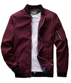 sandbank Men's Slim Fit Lightweight Softshell Flight Bomber Jacket Coat, wine red