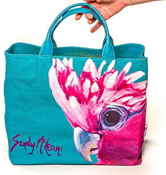 Sandy McLean Large Canvas Water Proof Exterior Travel Beach Yoga Tote Everyday Tote Handbag Over ...