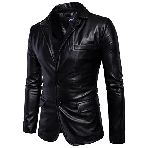 SANKE Men's Casual PU Faux Leather Jacket Slim Fit Two Button Blazer Jacket