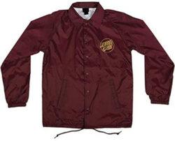 Santa Cruz Men's Opus Dot Coach Windbreaker Jacket, maroon