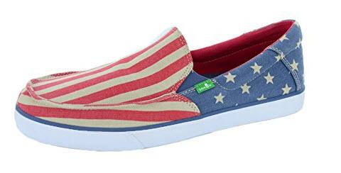 Sanuk Mens Sideline Slip On american flag.