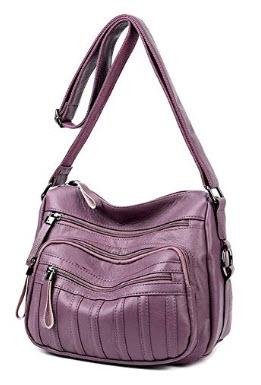 Sanxiner PU Leather Crossbody Bag for Women Multi-Pocket Purse Shoulder Handbag, A- purple