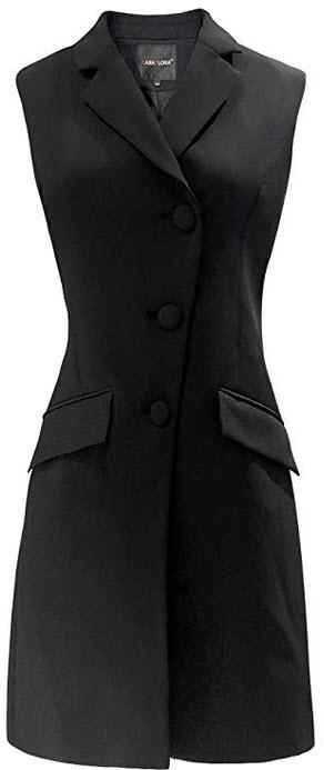 SARAFLORA Women's Sleeveless Long Trench Vest Casual Lapel Blazer Jacket with Pockets Long ...