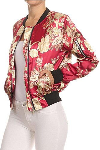 Satin Floral Print Bomber Jacket Burgundy by 36point5
