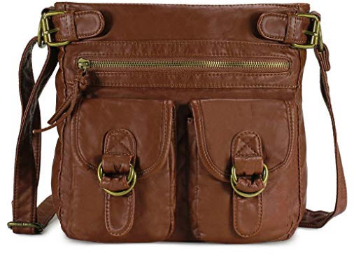 Scarleton Simple Duplet Pocket Crossbody Bag H1998, brown