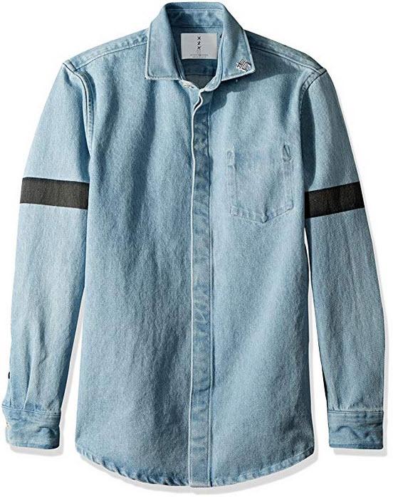 Scotch & Soda Men's Oversized Heavier Weight Clean Denim Shirt with Printed Str blue