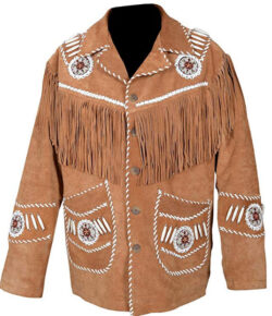 Scottish Designer Men's Western Jacket Brown Suede Leather Fringed & Bones