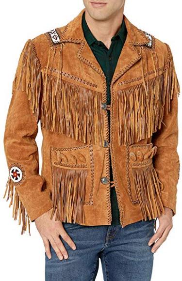 Scottish Designer Men's Western Suede Leather Brown Fringed & Bones Jacket