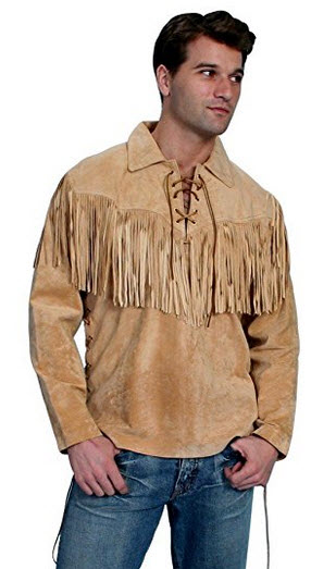 Scully Men's Fringed Boar Suede Leather Shirt – 5-86 .