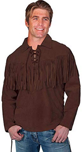 Scully Men's Fringed Boar Suede Leather Shirt chocolate