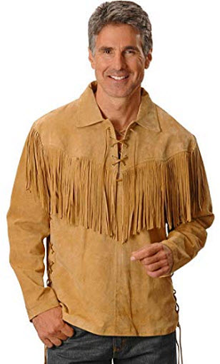 Scully Men's Fringed Boar Suede Leather Shirt tan