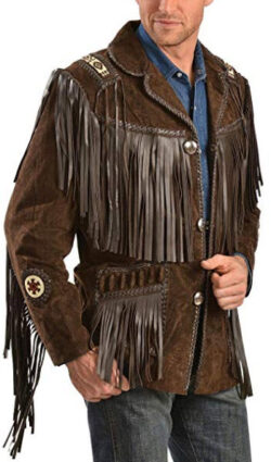 Scully Men's Fringed Suede Leather Coat, brown