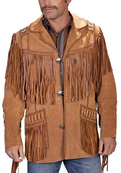 Scully Men's Fringed Suede Leather Coat Tall, buck tan