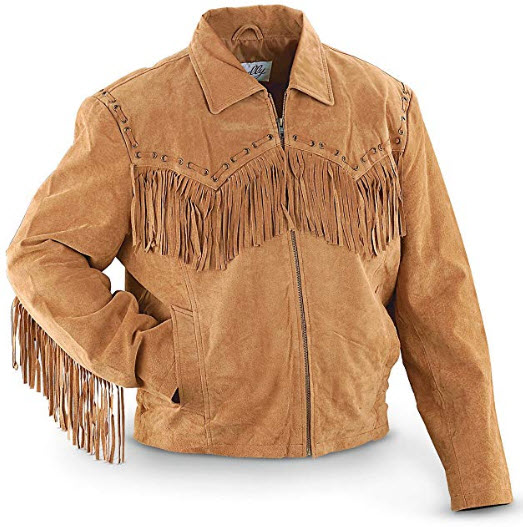 Scully Men's Fringed Suede Leather Short Jacket, bourbon