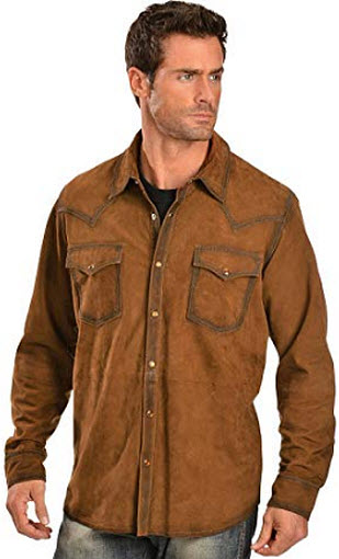 Scully Men's Suede Leather Western Shirt, brown