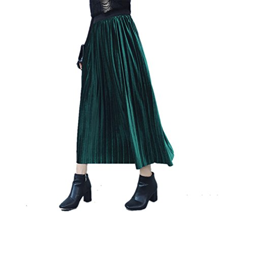 SDHEIJKY Casual Pleated Skirts Womens Long Skirt High Waist Elastic Skirt