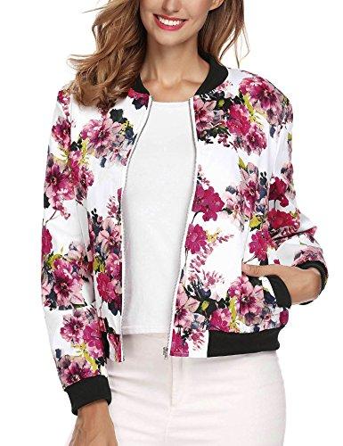 SE MIU Women Stand Neck Long Sleeve Printed Patchwork Zipper Jacket Coat With Pocket