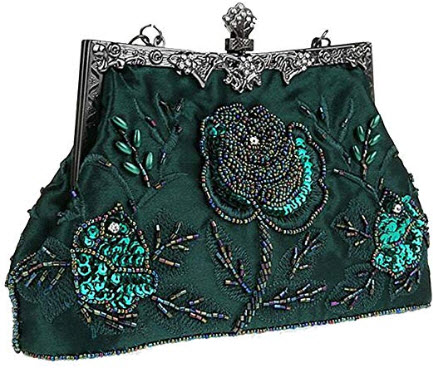 SEALINF Women Embroidered Rose Bead Clutches Bags Large Party Retro Handbags Wedding Bridal Purs ...
