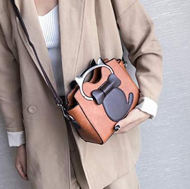 SEALINF Womens Girls PU Leather Cat Top Handle Cross Body Shoulder Bag Purse Small Handbag, patt ...