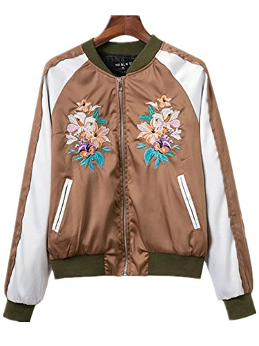 Season Show Women's Floral Embroidery Bomber Jacket cropped jacket