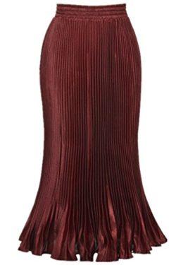 Season Show Women's Formal Pleated Retro Long Maxi Skirt