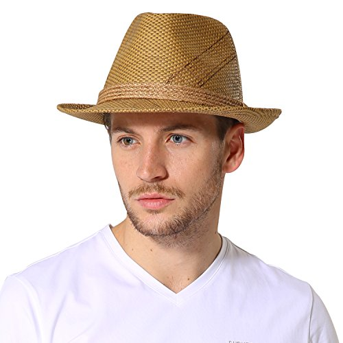 Sedancasesa Fedora Paper Straw Hat Short Brim Panama Hats Unisex Trilby Gangster