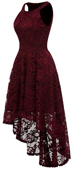 Sepfier Women's Halter Hi-lo Lace Floral Bridesmaid Cocktail Party Swing Dress wine red