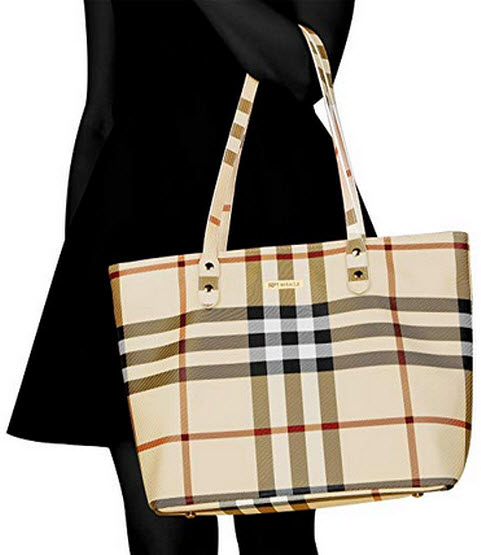 SEPT MIRACLE PU Leather Womens Portable Handbags Tote Bag Shoulder Bag Purse Khaki with zipper