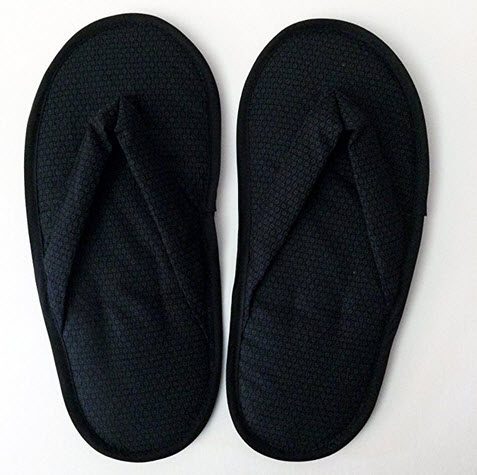 Serene Concepts Travel Indoor Use Foldable Cotton Fabric Flip Flops – Midnight Black .