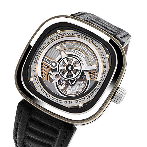 Seven Friday Men's S-Series 47mm Black Leather Band Steel Case Automatic Skeleton Dial Ana ...