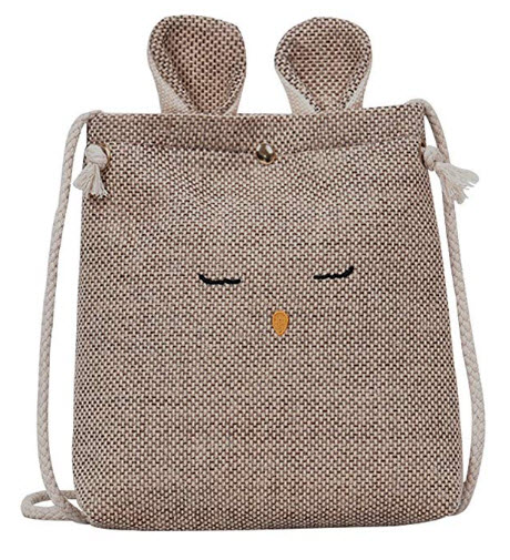 Seventopia Girls Trendy Small Crossbody Purse Cat Ear Embroidered Emoji Cotton Shoulder Bag Pouc ...