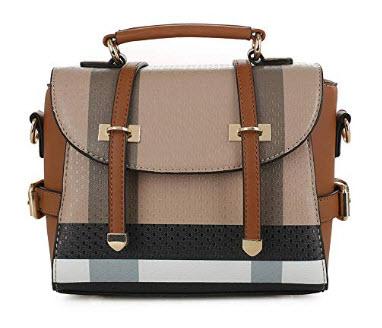 SG SUGU Small Plaid Lightweight Crossbody Bag Fashion Backpack Top Handle Purse, brown