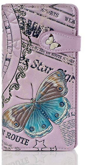 Shagwear Vintage Time Piece Large Zipper Bi-Fold Women's Wallet pink
