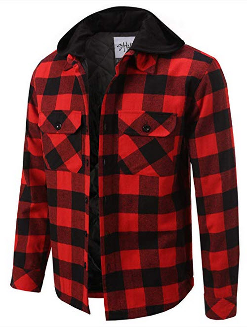Shaka Wear Men's Hooded Flannel Shirt Jacket Quilted Iined red black