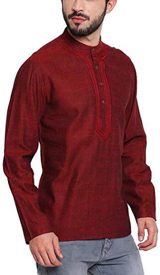 Shatranj Men's Banded Collar Shirt-Length Classic Kurta Tunic with Embroidery maroon