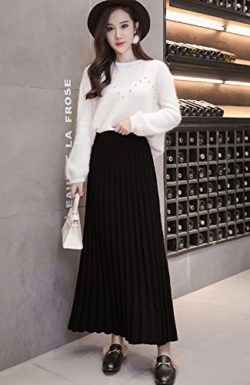 Sheicon Women Elastic Waist Knitted Pleated A Line Long Skirt