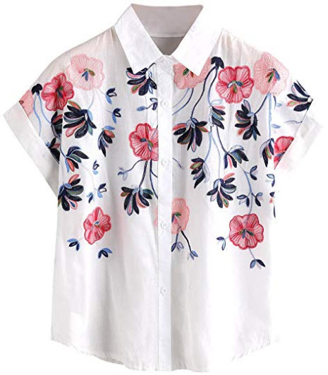 SheIn Women's Casual Floral Embroidered See-Through Short Sleeve Blouse, white 2
