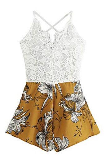 SheIn Women's Boho Crochet V Neck Halter Backless Floral Lace Romper Jumpsuit, ginger