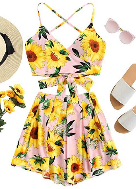SheIn Women's Boho 2 Pieces V Neck Crisscross Crop Top and Shorts Outfits, sunflower