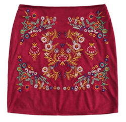 SheIn Women's Casual Floral Embroidered Bodycon Short Mini Skirt, burgundy faux suede
