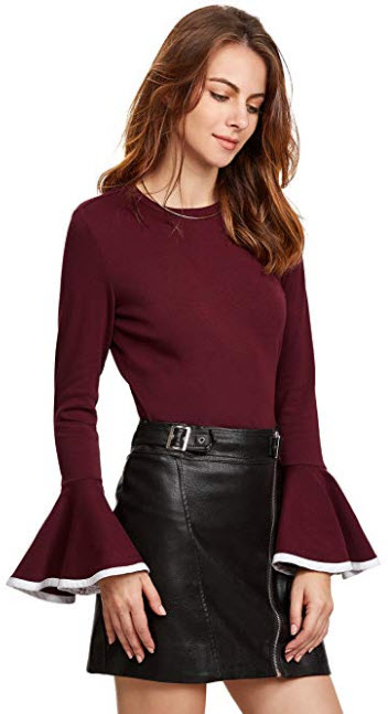 SheIn Women's Contrast Trim Bell Sleeve T-Shirt Top burgundy