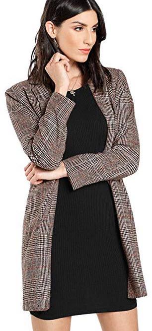 SheIn Women's Lapel Collar Coat Long Sleeve Plaid Blazer Outerwear coffee