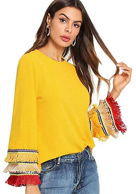 SheIn Women's Round Neck Ruffle Tassel Bell Sleeve Pullover Blouse yellow