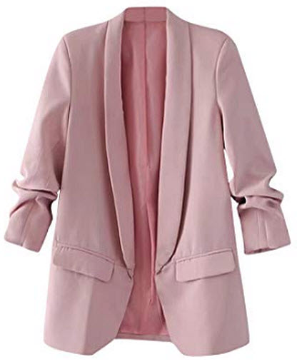 SheIn Women's Shawl Collar 3/4 Ruched Sleeve Open Front Blazer Jacket, pink
