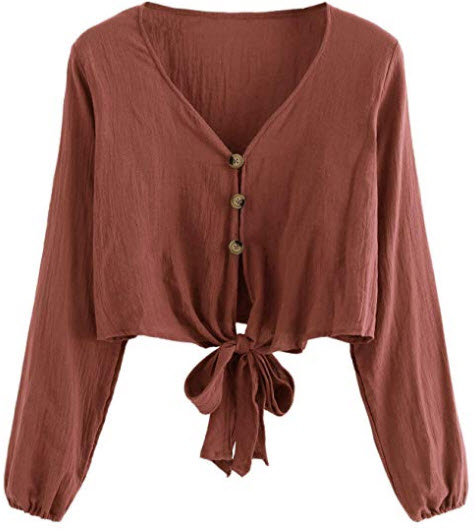 SheIn Women's V Neck Button Up Long Sleeve Bow Knot Crop Top Blouse rust