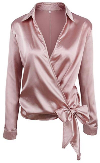 SheIn Women's V Neck Long Sleeve Satin Knotted Hem Wrap Blouse, pink