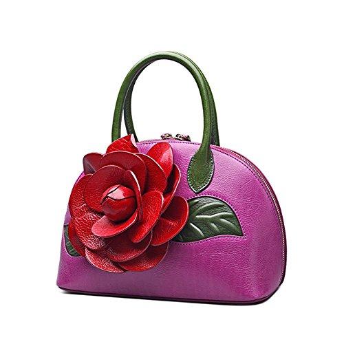 SHEMU Vintage Style Designer Floral Collection Inspired Ladies Handmade Leather Top Handle Handb ...